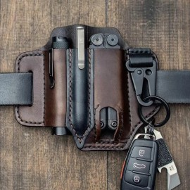SCG EDC leather belt organizer-Brown