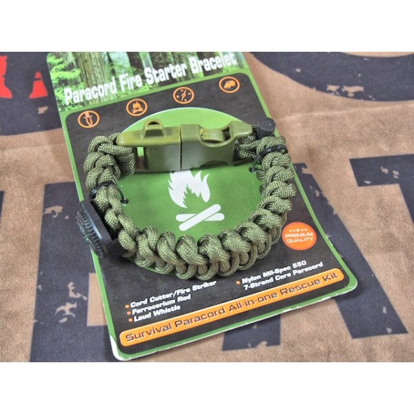 SCG Paracord Fire Starter Bracelet with whistle (OD)