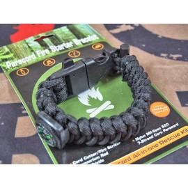 SCG Paracord Fire Starter Bracelet with whistle (Black)