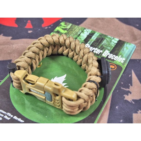 SCG Paracord Fire Starter Bracelet with whistle (Tan)