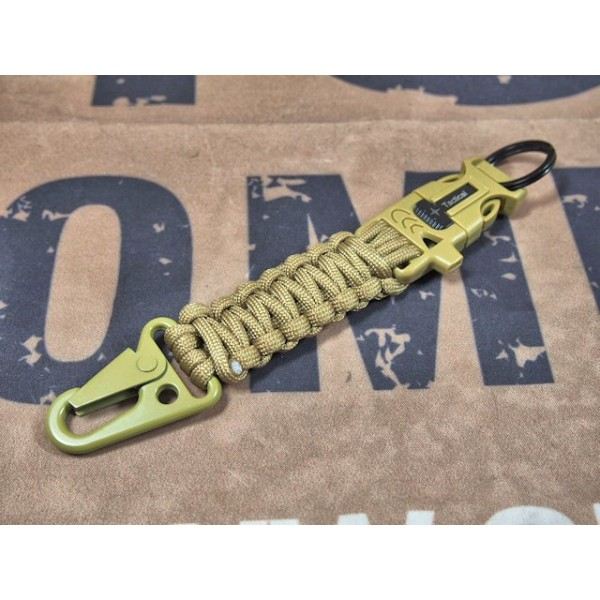 SCG Paracord Fire Starter Tactical Keychain with whistle (Tan)