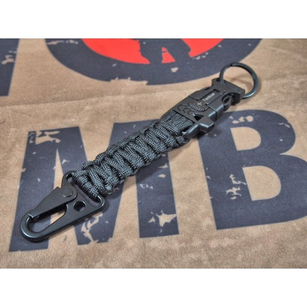 SCG Paracord Fire Starter Tactical Keychain with whistle (Black)