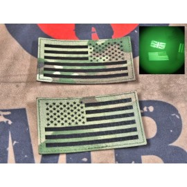 """SCG Hook & Loop Fasteners 3M IR Patches """"  US Flag Lelf and Right set -MC"""""""