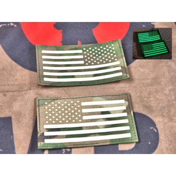 """SCG Hook & Loop Fasteners  glow in the dark Patches """"  US Flag Lelf and Right set -MC"""""""