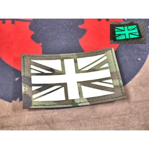 """SCG Hook & Loop Fasteners glow in the dark Patches """"  UK Flag -MC"""""""